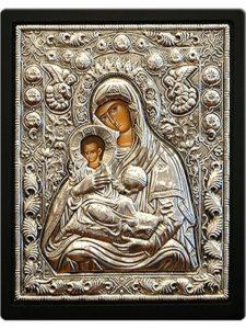 Icoana din argint Maica Domnului cu Pruncul