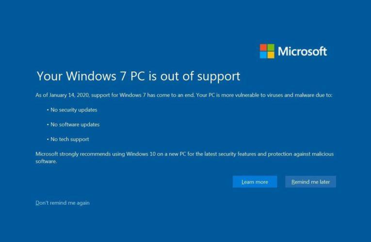 Microsoft a încetat suportul pentru Windows 7